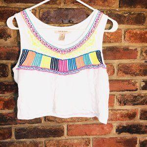 ♦️Medium Fun & Flirt white rainbow crop top